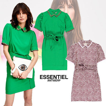 Short Leopard Patterns Casual Style Plain Short Sleeves