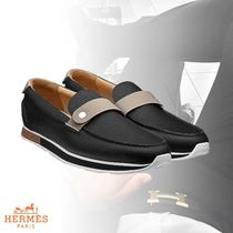 HERMES Plain Toe Moccasin Plain Loafers & Slip-ons