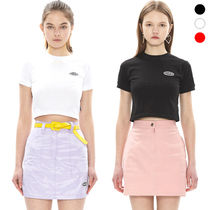 Charm's Crew Neck Short Street Style Plain Cotton Short Sleeves
