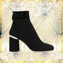 MiuMiu Round Toe Leather Ankle & Booties Boots