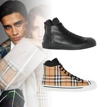 Burberry Other Check Patterns Unisex Blended Fabrics Leather Sneakers