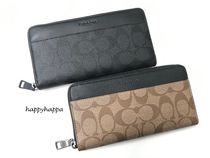 Coach Monogram Unisex Leather Long Wallets