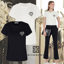 GIVENCHY Crew Neck Heart Flower Patterns Cotton Short Sleeves