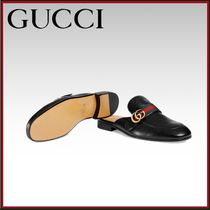 GUCCI Plain Toe Moccasin Plain Leather Loafers & Slip-ons