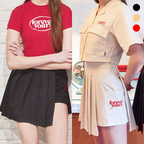 Charm's Short Pleated Skirts Street Style Plain Cotton Skirts