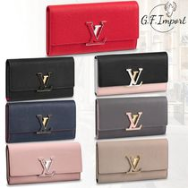 Louis Vuitton CAPUCINES Calfskin Blended Fabrics Bi-color Long Wallets