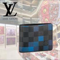 Louis Vuitton DAMIER GRAPHITE Other Check Patterns Leather Folding Wallets