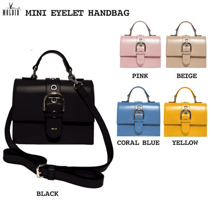 Studded Street Style 2WAY Plain Office Style Shoulder Bags