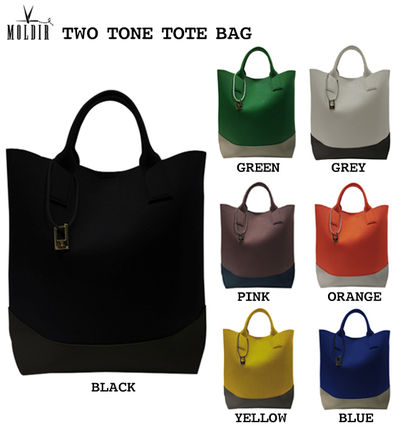 Casual Style Studded Street Style 2WAY Plain Totes
