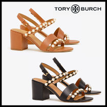 Tory Burch Open Toe Blended Fabrics Studded Plain Leather Block Heels