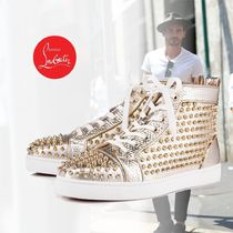 Christian Louboutin LOUIS Studded Plain Leather Sneakers