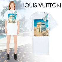 Louis Vuitton Crew Neck Short Casual Style Tight Blended Fabrics Bi-color