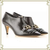 TOD'S Plain Leather Fringes Elegant Style Ankle & Booties Boots