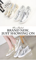 Dots Wedge Round Toe Casual Style Street Style Slip-On Shoes