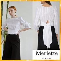 merlette Casual Style Puffed Sleeves Plain Cotton Medium