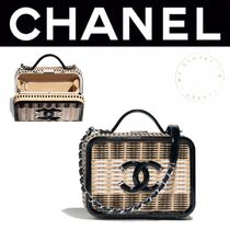 CHANEL ICON Casual Style Calfskin Blended Fabrics Street Style