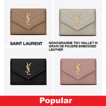 Saint Laurent Unisex Calfskin Street Style Plain Folding Wallets