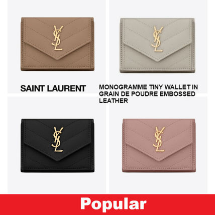 Unisex Calfskin Street Style Plain Folding Wallets