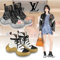 Louis Vuitton Plain Toe Rubber Sole Leather Elegant Style Low-Top Sneakers