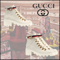GUCCI Sylvie Platform Leather Ankle & Booties Boots