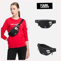 Karl Lagerfeld Casual Style Unisex Plain Leather Shoulder Bags