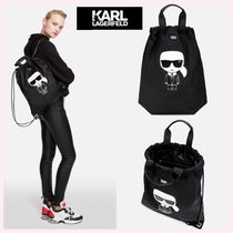 Karl Lagerfeld Casual Style Plain Leather Backpacks