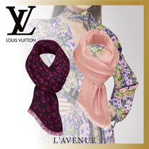 Louis Vuitton MONOGRAM Monogram Silk Blended Fabrics Fringes Elegant Style