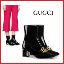 GUCCI Flower Patterns Leather Elegant Style Ankle & Booties Boots