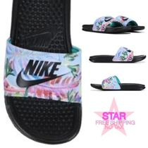 Nike BENASSI Flower Patterns Open Toe Casual Style Shower Shoes