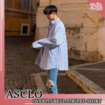 ASCLO Stripes Wool Street Style Long Sleeves Plain Oversized