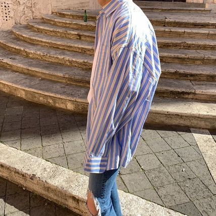ASCLO Shirts Stripes Wool Street Style Long Sleeves Plain Oversized 5