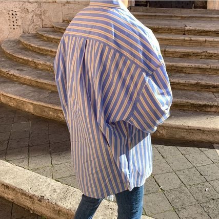 ASCLO Shirts Stripes Wool Street Style Long Sleeves Plain Oversized 9