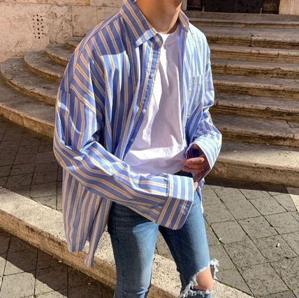 ASCLO Shirts Stripes Wool Street Style Long Sleeves Plain Oversized 10