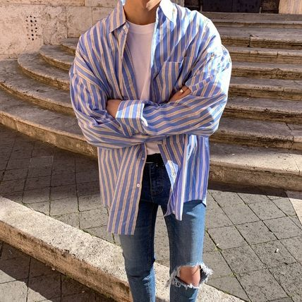 ASCLO Shirts Stripes Wool Street Style Long Sleeves Plain Oversized 11