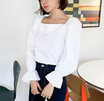 DAILYMONDAY Casual Style Puffed Sleeves Cotton Medium Shirts & Blouses