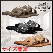 HERMES Oran Open Toe Studded Leather Sandals