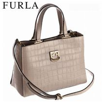 FURLA 2WAY Plain Other Animal Patterns Leather Totes