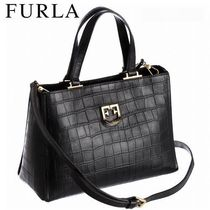 FURLA 2WAY Other Animal Patterns Leather Totes