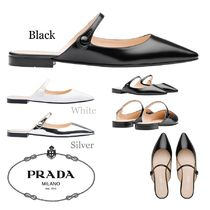 PRADA Plain Leather Elegant Style Sandals