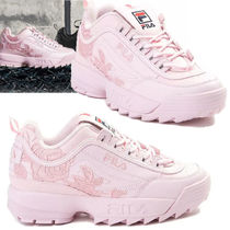 FILA Flower Patterns Lace-up Casual Style Unisex Street Style