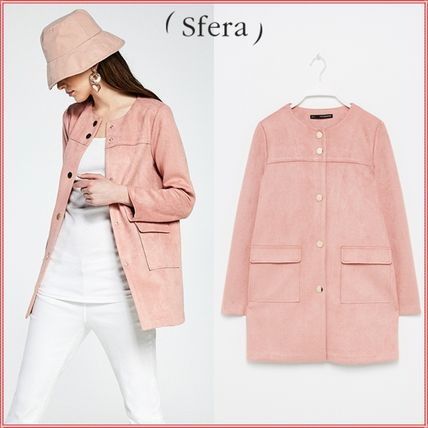 Casual Style Suede Plain Jackets