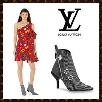 Louis Vuitton Stripes Casual Style Blended Fabrics Leather Pin Heels