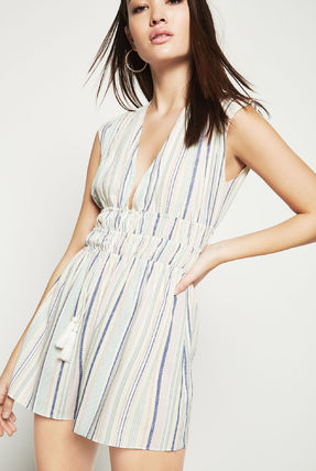 Short Stripes Casual Style Nylon Sleeveless V-Neck Dresses