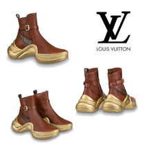 Louis Vuitton Monogram Round Toe Plain Leather Ankle & Booties Boots