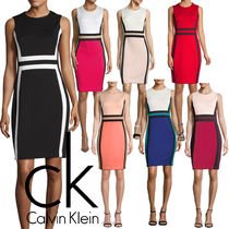Calvin Klein Crew Neck Tight Sleeveless Bi-color Plain Medium Dresses