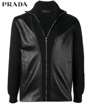 PRADA Short Blended Fabrics Plain Biker Jackets