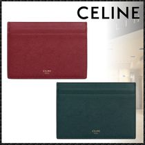 CELINE Unisex Calfskin Plain Bold Card Holders