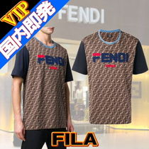 FENDI Crew Neck Monogram Unisex Street Style Collaboration Cotton