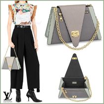 Louis Vuitton TAIGA Blended Fabrics 2WAY Bi-color Chain Leather Elegant Style