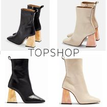 TOPSHOP Casual Style Tie-dye Plain Leather Block Heels